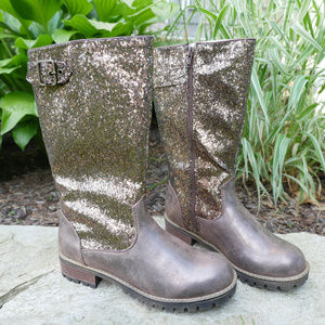 Qupid | sparkly bronze combat boots buckle NWT